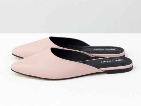 Женскиебабуши на низком ходу из кожи розового цвета, Т-17428-10