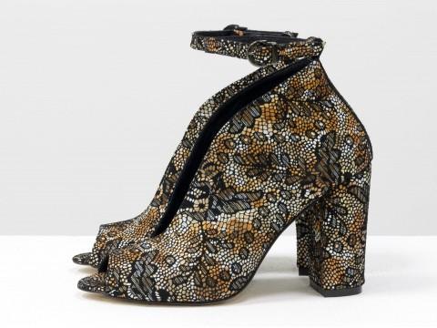Туфли с открытым носком из кожи цветочный принт на высоком каблуке, Т-17420-03