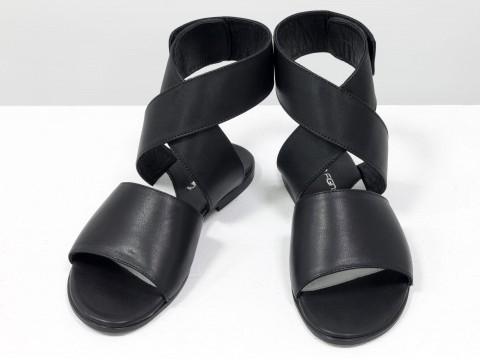 Босоножки на низком ходу черные из натуральной кожи, С-608-01