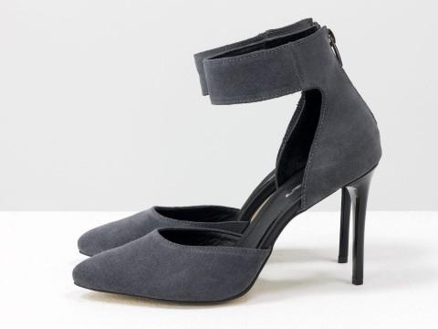 Туфли с острым носком серого цвета из натуральной замши, С-1800-02