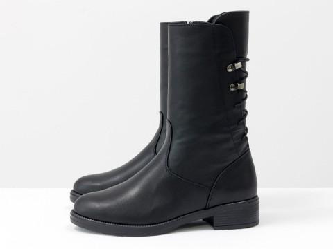 Демисезонные женские ботинки черные кожаные на маленьком каблуке, Б-1820-06