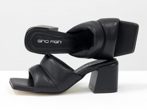Дизайнерские черные шлёпанцы на небольшом каблуке из натуральной итальянской кожи, С-2120-01