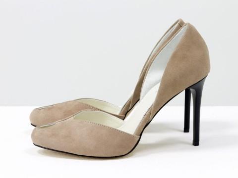 Туфли на шпильке из натуральной замши велюр цвета капучино, С-1982-01