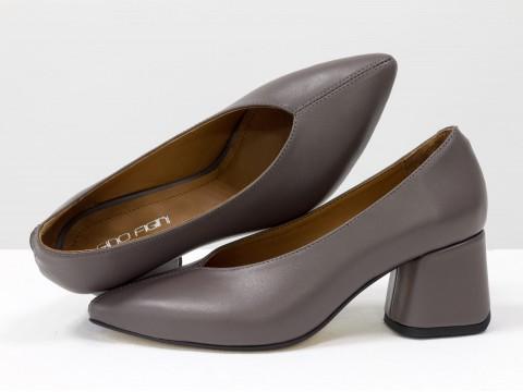 Дизайнерские туфли-перчатки на невысоком обтяжном каблуке из натуральной итальянской кожи серо-сиреневого цвета,  Т-2050-23