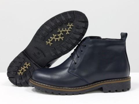 Женские ботинки на шнуровке из натуральной кожи синего цвета