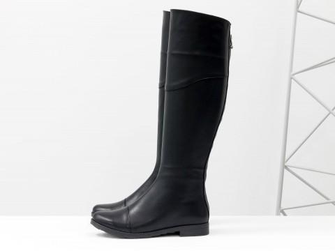 Сапоги-ботфорты черные из натуральной кожи, высокие, М-111-04