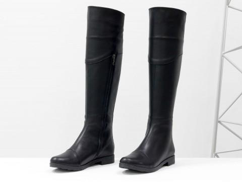 Сапоги высокие черные из натуральной кожи с молнией сзади