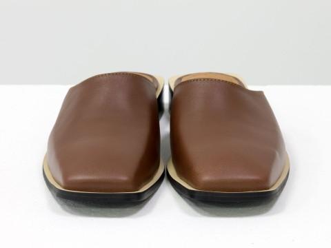 Дизайнерские мюли с квадратным носиком из кожи коричневого цвета