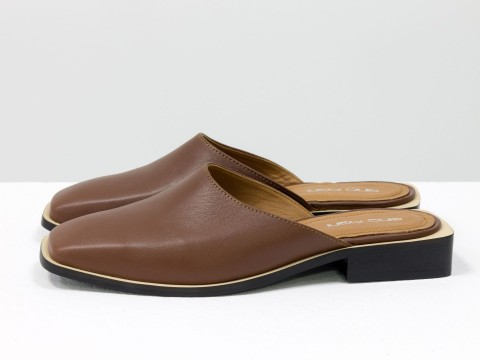 Дизайнерские мюли из натуральной кожи коричневого цвета на квадратном каблуке