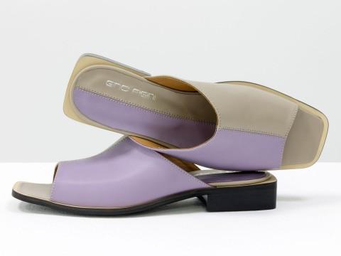 Стильные дизайнерские двухцветные шлепки с квадратным носиком из натуральной итальянской кожи лавандового и бежевого цвета, С-2039-04