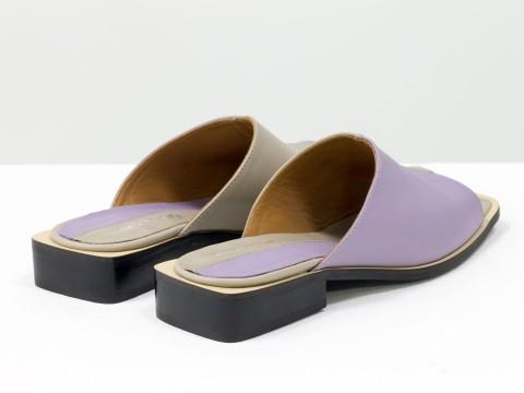 Стильные дизайнерские двухцветные шлепки с квадратным носиком из натуральной итальянской кожи лавандового и бежевого цвета