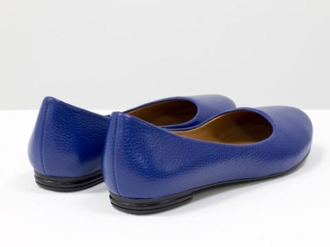 Летние балетки синего цвета из натуральной кожи на тонкой подошве черного цвета, Т-2110-03