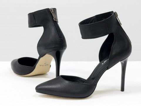 Черные туфли на шпильке из натуральной кожи с ремешком вокруг щиколотки