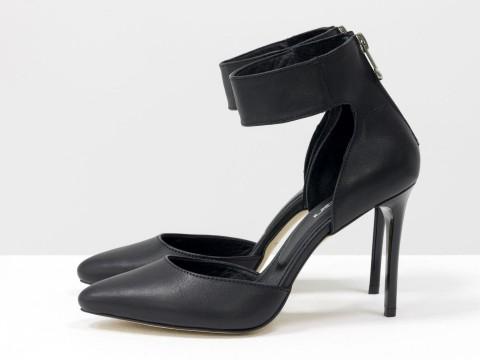 Черные туфли на шпильке из кожи с ремешком вокруг щиколотки, С-1800-01