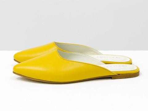 Женские желтые мюли из натуральной кожи на низком ходу, Т-17428-23