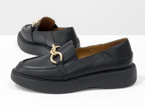 Туфли-лоферы из итальянской кожи черного цвета на утолщенной подошве, Т-2118-03