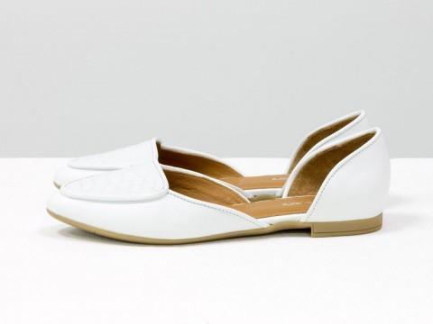 Туфли лодочки из белой гладкой кожи и эксклюзивной кожи питон Д-24-34