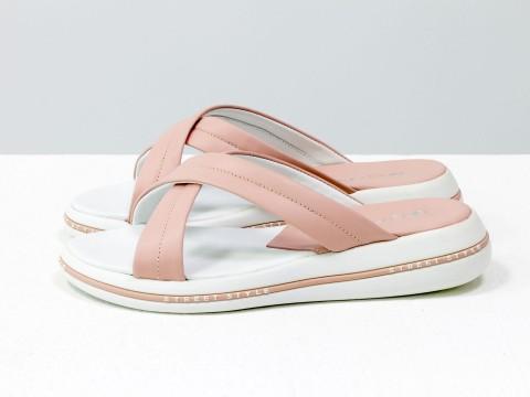 Летние шлепанцы из нежно-розовой кожи на удобной подошве белого цвета, С-2022-03