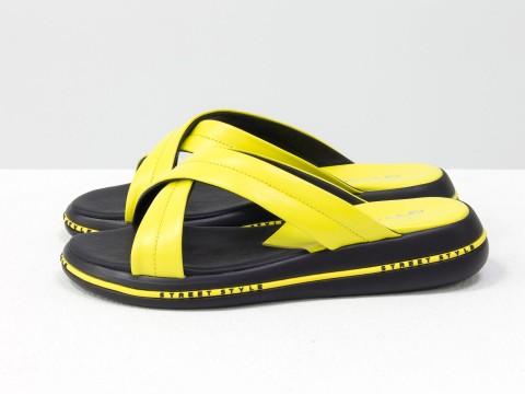 Летние желтые шлепанцы из кожи на удобной подошве черного цвета, С-2022-04