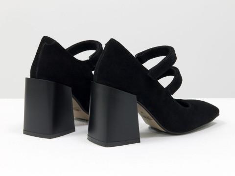 Дизайнерские туфли из натуральной черной замши на устойчивом квадратном каблуке,  Т-2049-06