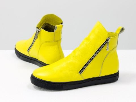 Женские спортивные ботинки из натуральной кожи желтого цвета