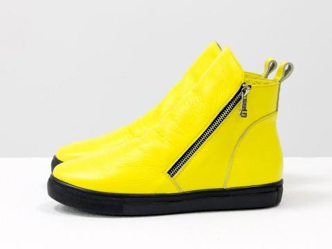 Женские спортивные ботинки желтого цвета  с молниями по бокам, Б-407-26