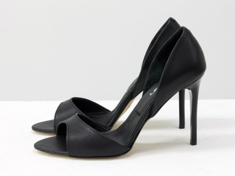 Черные босоножки кожаные на каблуке - шпилька, С-704-04
