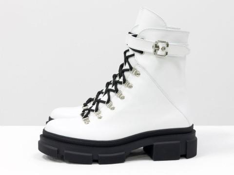 Женские  ботинки из натуральной белой кожи на тракторной подошве, Б-2065-05