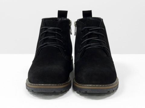 Ботинки черные из натуральной замши, Б-152-38