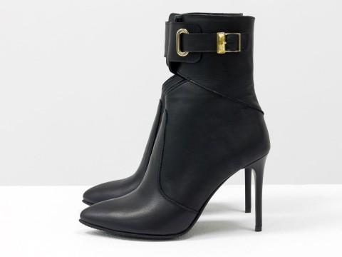 Эксклюзивные ботинки из натуральной итальянской кожи на высокой шпильке