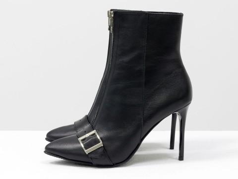 Классические ботинки на шпильке черные из кожи, Б-1906-01