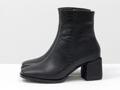 Женские классические ботинки черного цвета из натуральной текстурированной кожи, Б-2061-07
