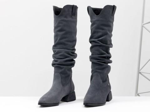 Осенние сапоги серого цвета из натуральной замши на маленьком каблуке, М-2083-04