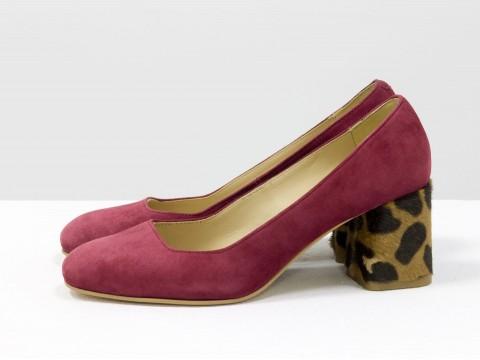 Бордовые туфли на среднем каблуке из замши , Т-1927-01