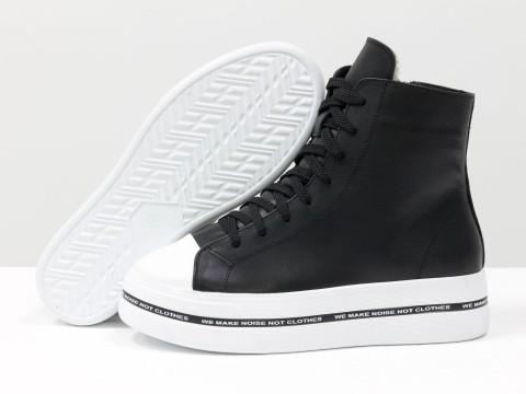 Женские ботинки на толстой подошве из натуральной кожи  черного цвета с белым носиком, Б-2055-03