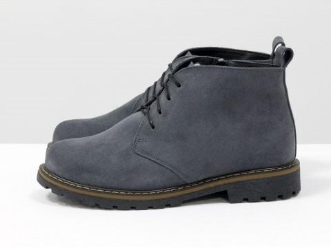 Женские  ботинки на шнурках из теемно-, Б-152-16