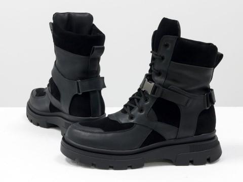 Женские спортивные ботинки из натуральной черной кожи и замши на модной высокой подошве