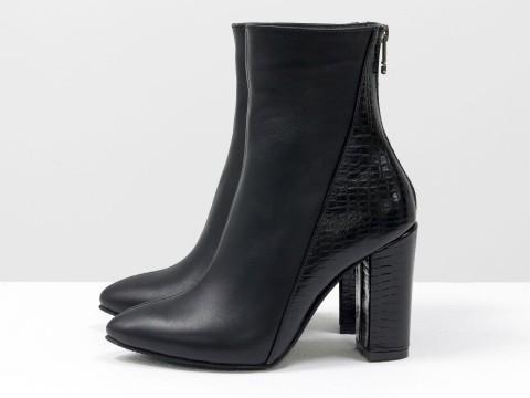 Классические женские ботинки из черной кожи на каблуке, Д-29