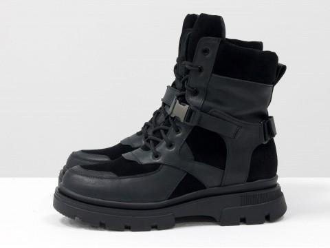 Ботинки из черной кожи и замши на модной подошве, Б-1996-01