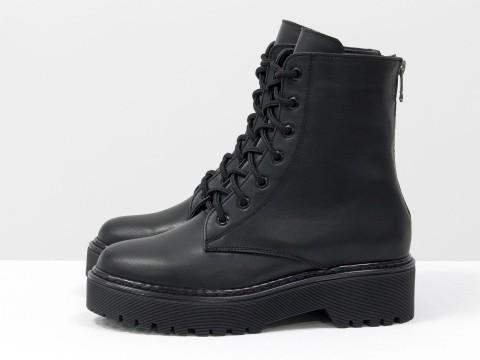 Женские ботинки черные из кожи на шнуровке, Б-20103-02