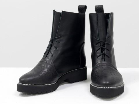 Женские весенние ботинки на шнуровке из натуральной черной кожи