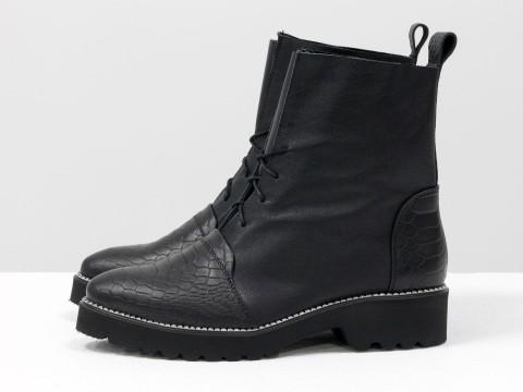 Женские весенние ботинки на шнуровке из кожи черного цвета, Б-17331-18