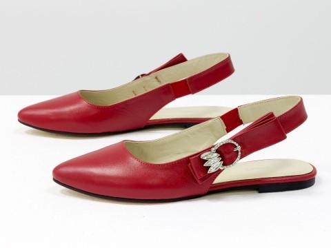 Красные туфли с открытой пяткой из натуральной кожи на низком ходу