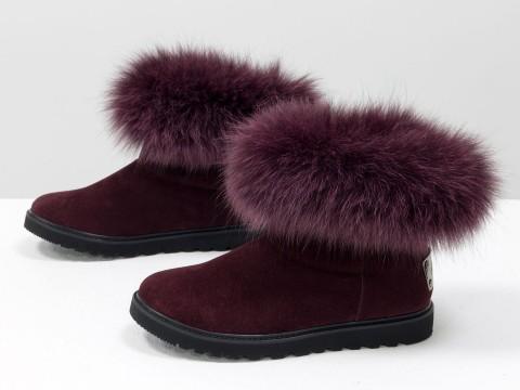 Женские бордовые ботинки цвета марсала с опушкой из натурального меха песца