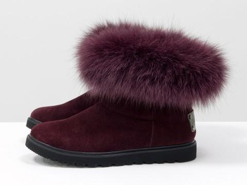 Женские бордовые ботинки из натуральной замши с опушкой из песца