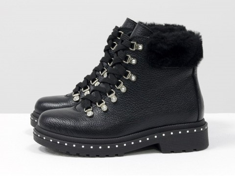 Зимние кожаные ботинки на шнуровке, Б-1817-01