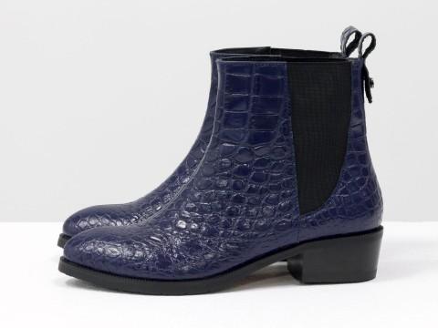 Женские синие ботинки челси из натуральной кожи на маленьком каблуке