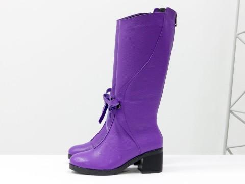 Женские сапоги на маленьком каблуке из кожи фиолетового цвета, М-17500-05