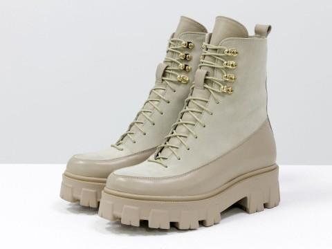 Женские спортивные ботинки  из натуральной кожи бежевого цвета с вставками из замши на шнуровке, Б-2075-04