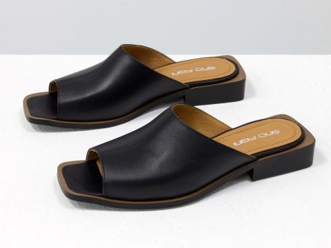 Стильные дизайнерские черные шлепки с квадратным носиком из натуральной итальянской кожи  на квадратном современном каблуке